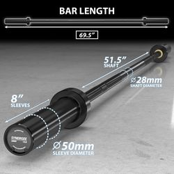 Synergee 15lb Technique Barbell Black Aluminum Bar for Form & Technique Training for Power & Olympic Lifting. Thumbnail