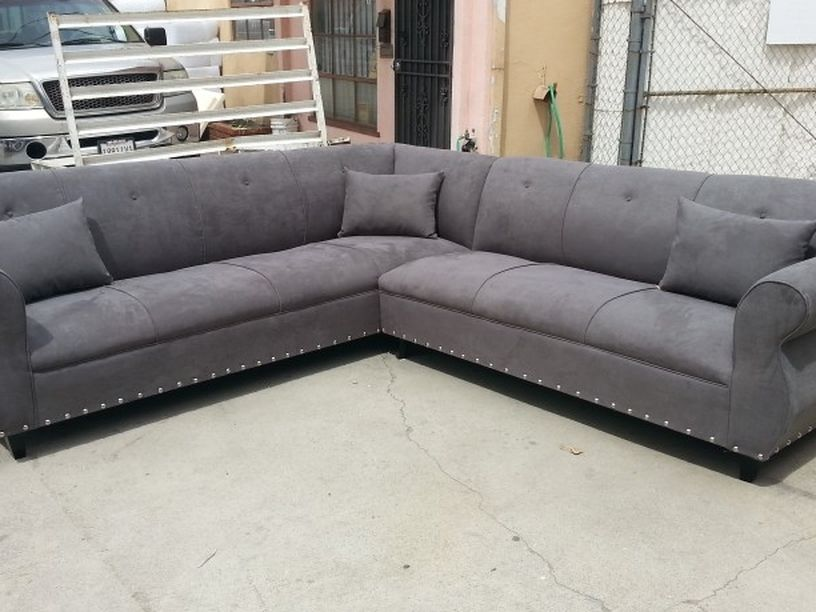 NEW 9X9FT CHARCOAL MICROFIBER SECTIONAL COUCHES