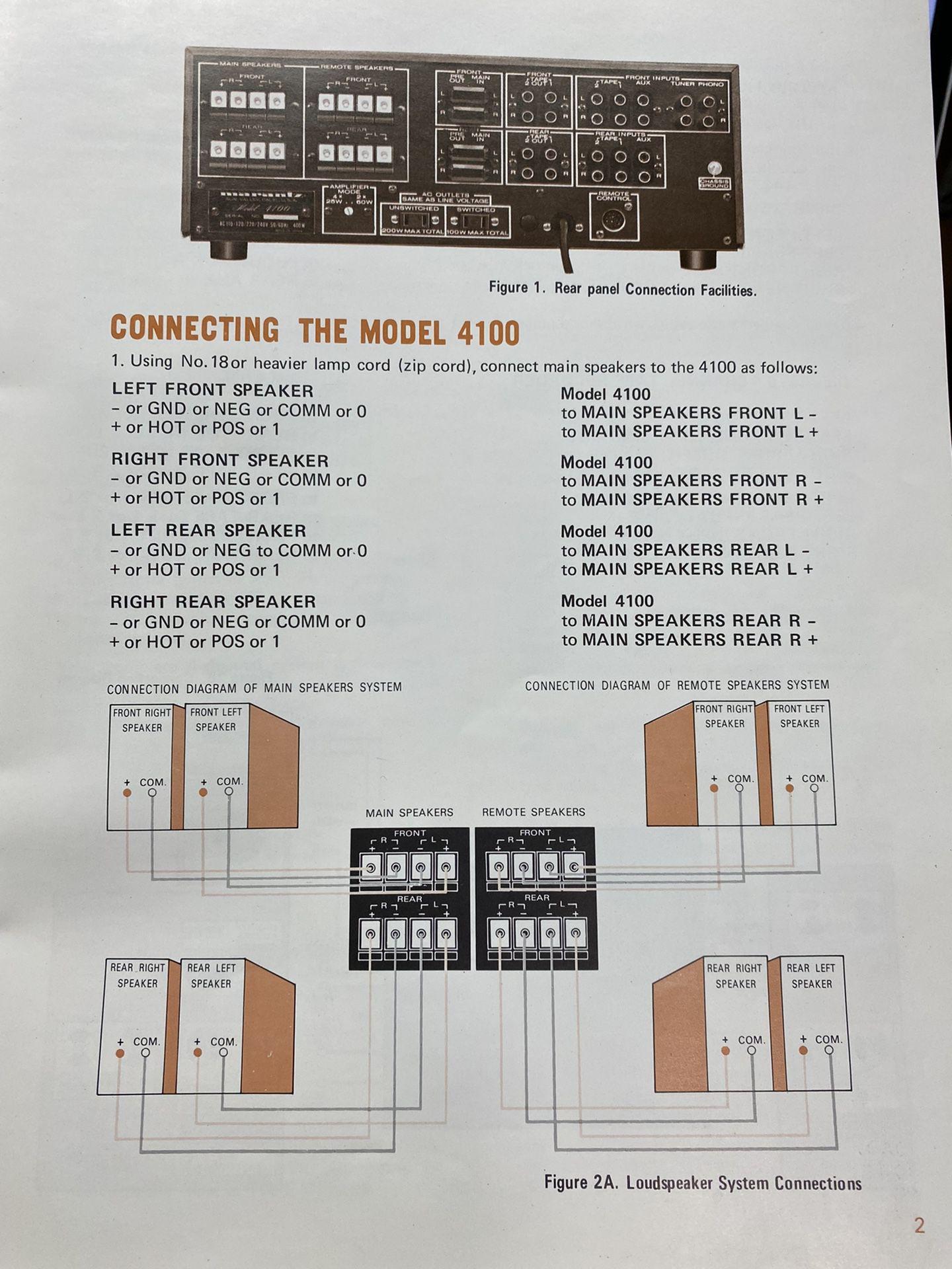 Rare Marantz 4100 Quad Amplifier Mint