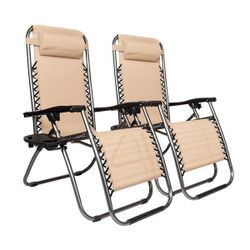 2pcs Plum Blossom Lock Portable Folding Chairs with Saucer Khaki Thumbnail