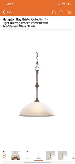 Hampton Bay Bristol Collection 1-Light Nutmeg Bronze Pendant with Tea-Stained Glass Shade Thumbnail