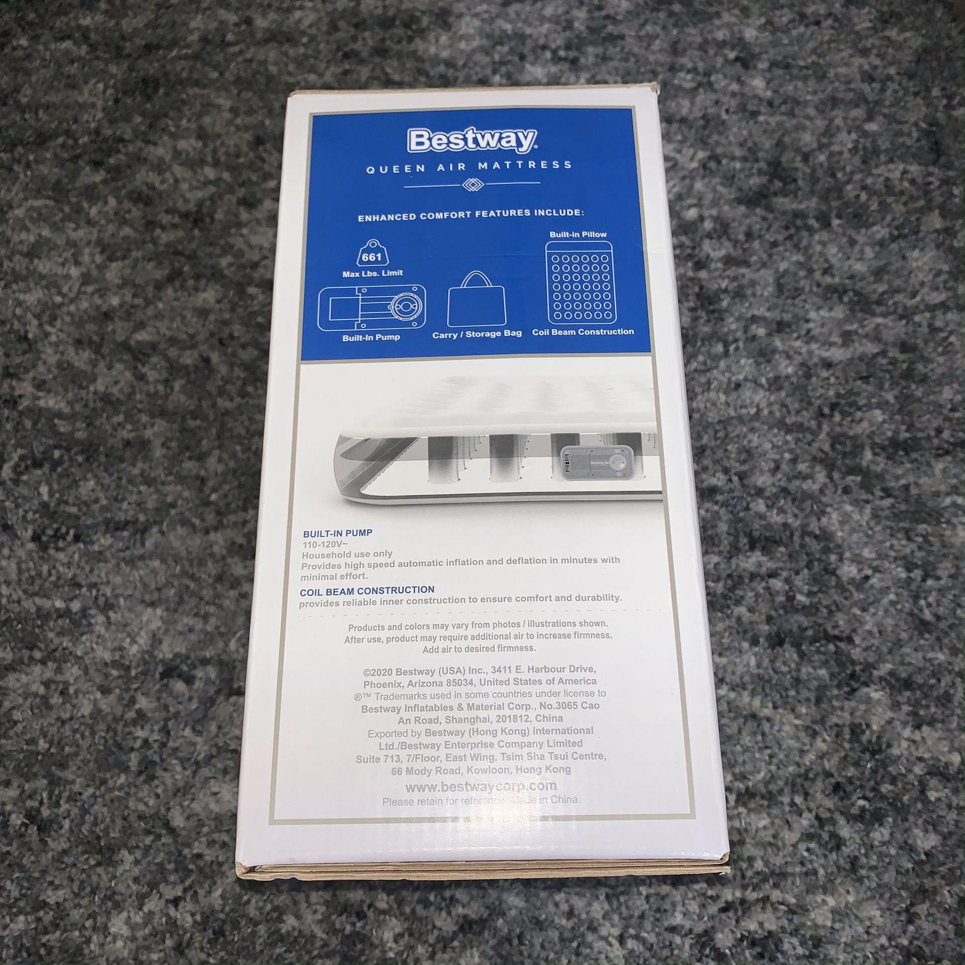 QUEEN air mattress w/ built-in a/c pump.