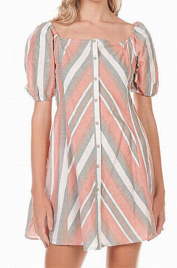 Angie Pink Size Small S Junior A-Line Dress Striped Button-Trim Shirt