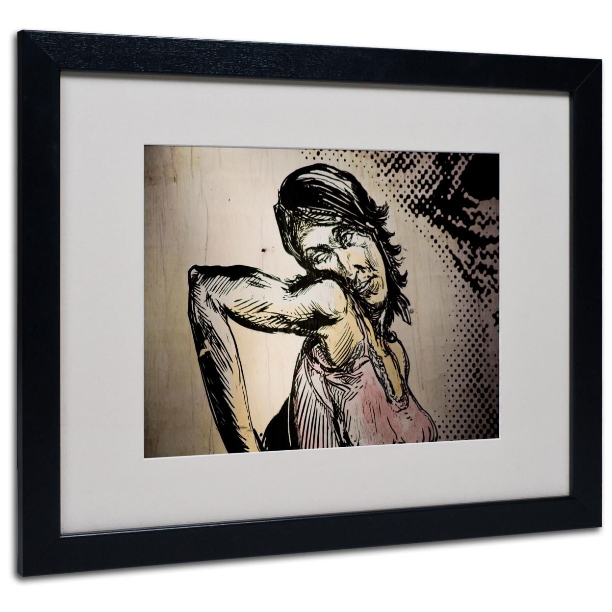 Yale Gurney 'Elbow Up Pop Art' Black Wooden Framed Art 18 x 22 Inches