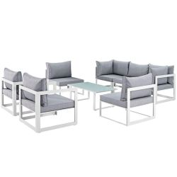 """Fortuna 8 Piece Outdoor Patio Sectional Sofa Set, White Gray Size : 118""""Lx91""""Wx32.5""""H Thumbnail"""
