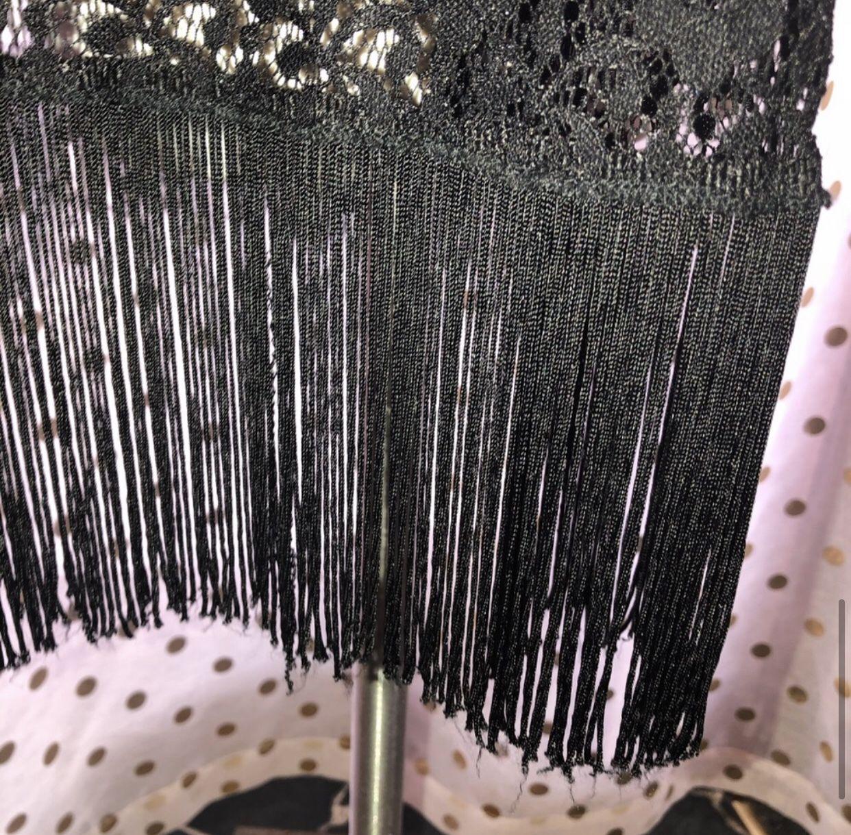 LuLaRoe Size Large Black Fringe Open Front Sweater Cardigan