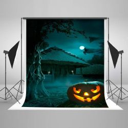 5x7ft Haunted Halloween Photo Backdrops Thriller House Witch Pumpkin Photo Booth Props for Children Thumbnail