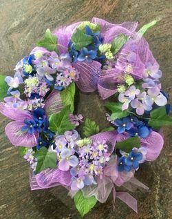 Spring floral and deco mesh purple wreath Thumbnail