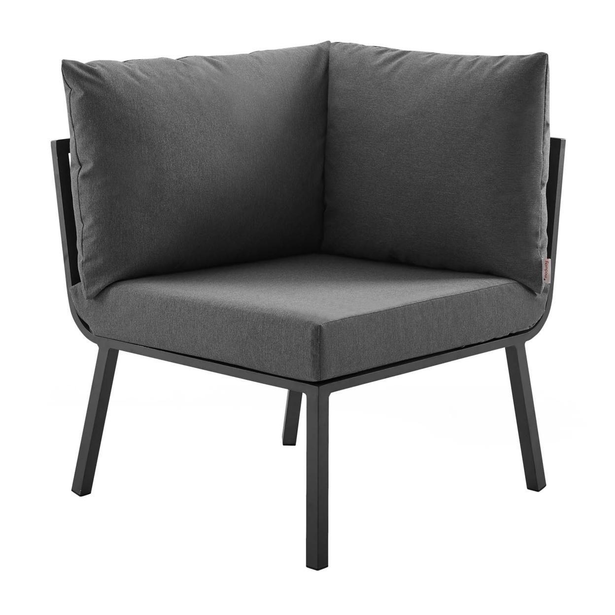 Riverside 2 Piece Outdoor Patio Aluminum Sectional Sofa Set, Gray Charcoal
