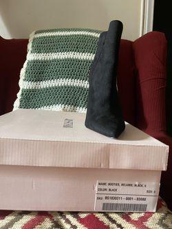 JustFab Women's Ankle Boots Black Faux Suede  Thumbnail