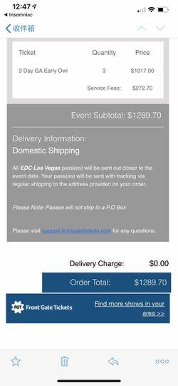 Vegas 3 Days GA Tickets. $300 Each Thumbnail
