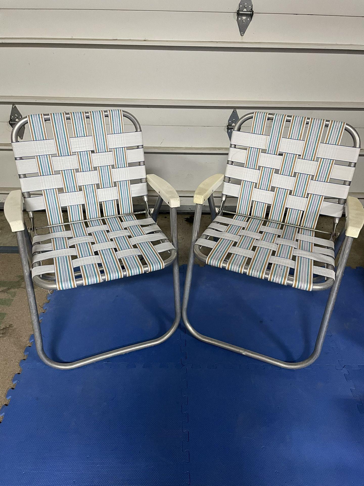 Vintage Aluminum Webbed Chairs (Pair) - White Stripes