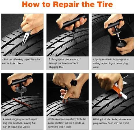 condition: new   Tire Repair Kit, 100 Pcs Heavy Duty Tire Plug Kit for Car, Universal Tire Patch kit to Fix Punctures and Plug Flats, tire Repair Plug