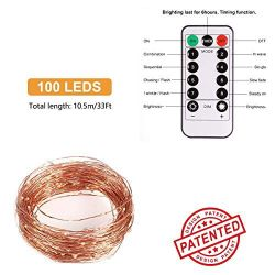 LED String Lights, 33ft 100 LEDs 8 Modes Copper Wire Lights Waterproof Festival Decorative Starry Fairy String Lights Battery Operated Thumbnail