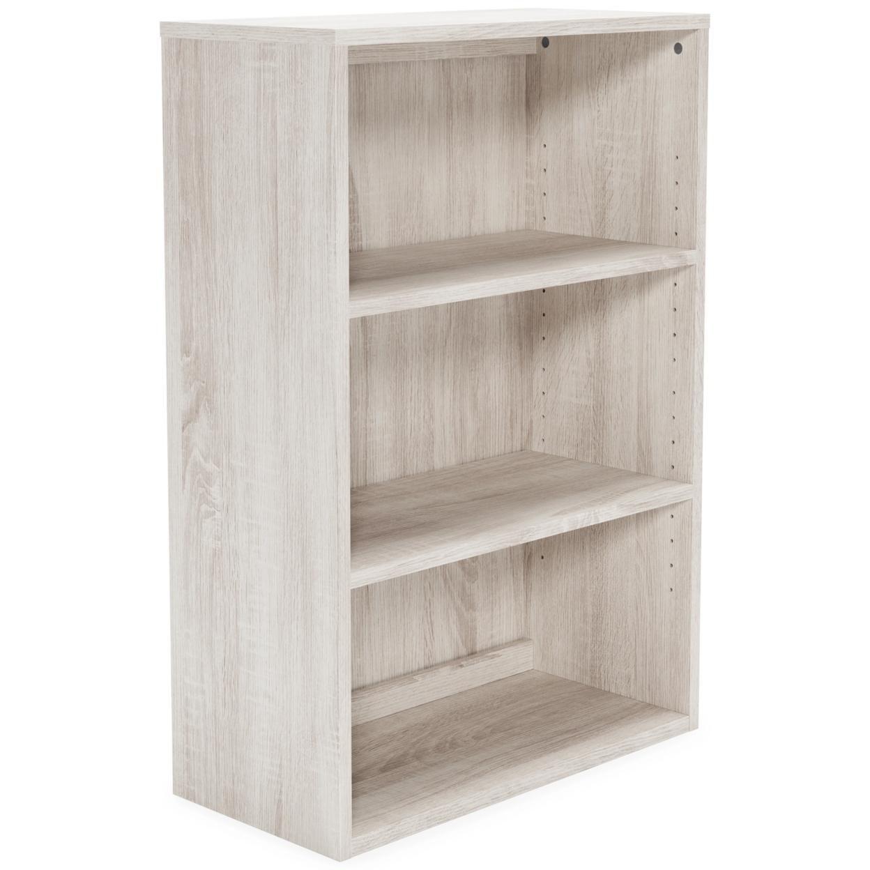 Medium Bookcase with 2 Adjustable Shelves, Antique White, Saltoro Sherpi
