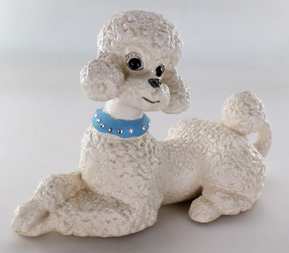 Vintage Retro Atlantic Mold White Ceramic Poodle Figure Shabby Chic Decor