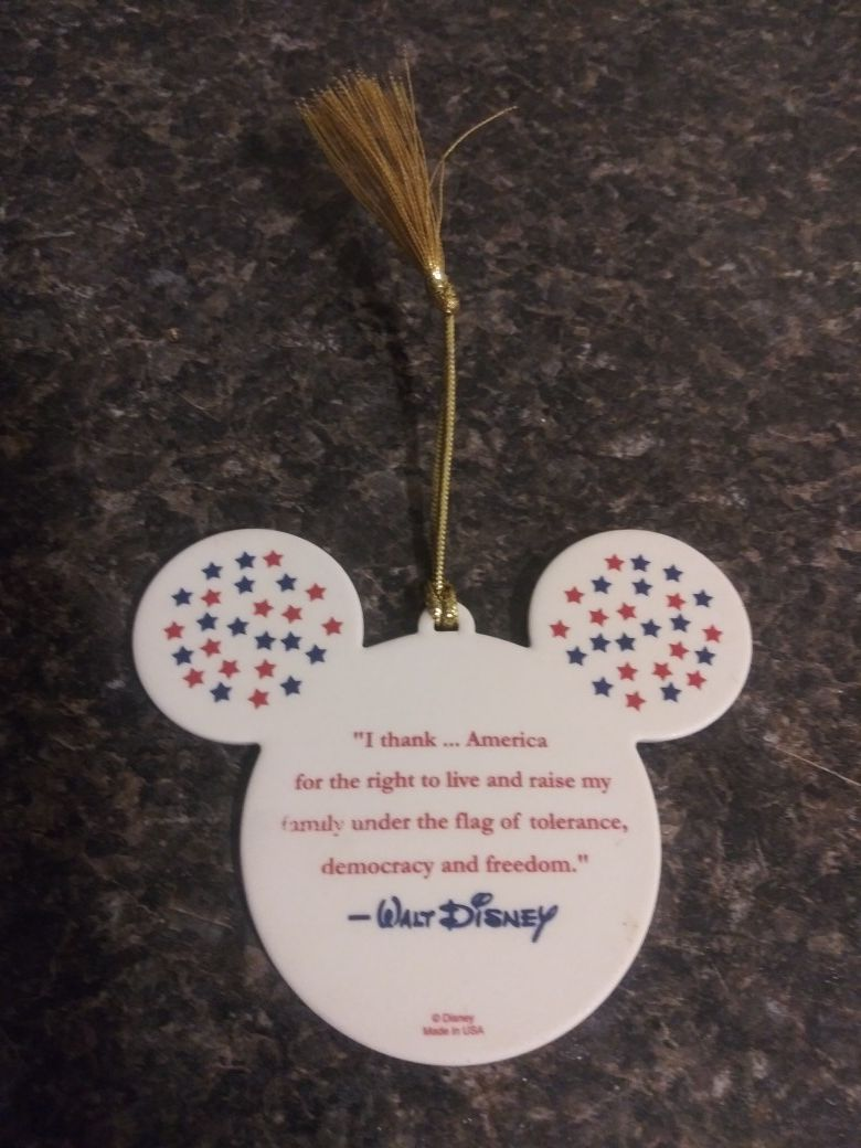 Stars-n-Stripes Ceramic Mickey Mouse Ears Ornament. MINT CONDITION
