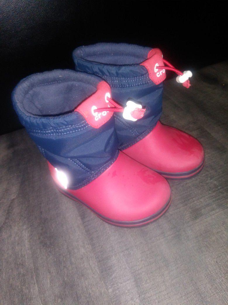 CROCS 7c Red+Blue Rain+Snow Boots
