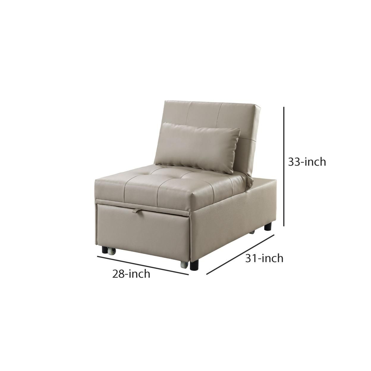 Sofa Bed with 1 Lumbar Pillow and Pull Out Sleeper, Beige, Saltoro Sherpi