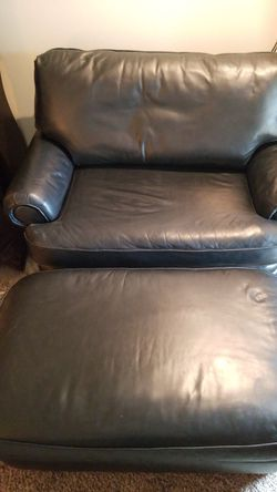 Genuin black Leather oversized chair/love seat and ottoman Thumbnail