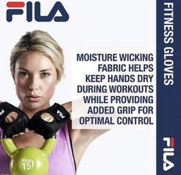 FILA Accessories Exercise Gloves - Classic Fitness Workout Gloves for Men & Women   Padded Palm Breathable Mesh   Ideal for Weightlifting, Floor Gym R Thumbnail