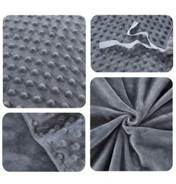 Duvet Cover for Weighted Blankets 48 x 72 Inches - Removable Weighted Blanket Cover - Soft Minky Dot, Gray Thumbnail