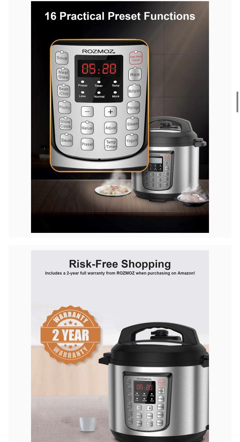 12-in-1 Electric Pressure Cooker Instant Stainless Steel Pot, Slow Cooker, Steamer, Saute, Yogurt Maker, Egg Cook, Sterilizer, Warmer, Rice Cooker wi
