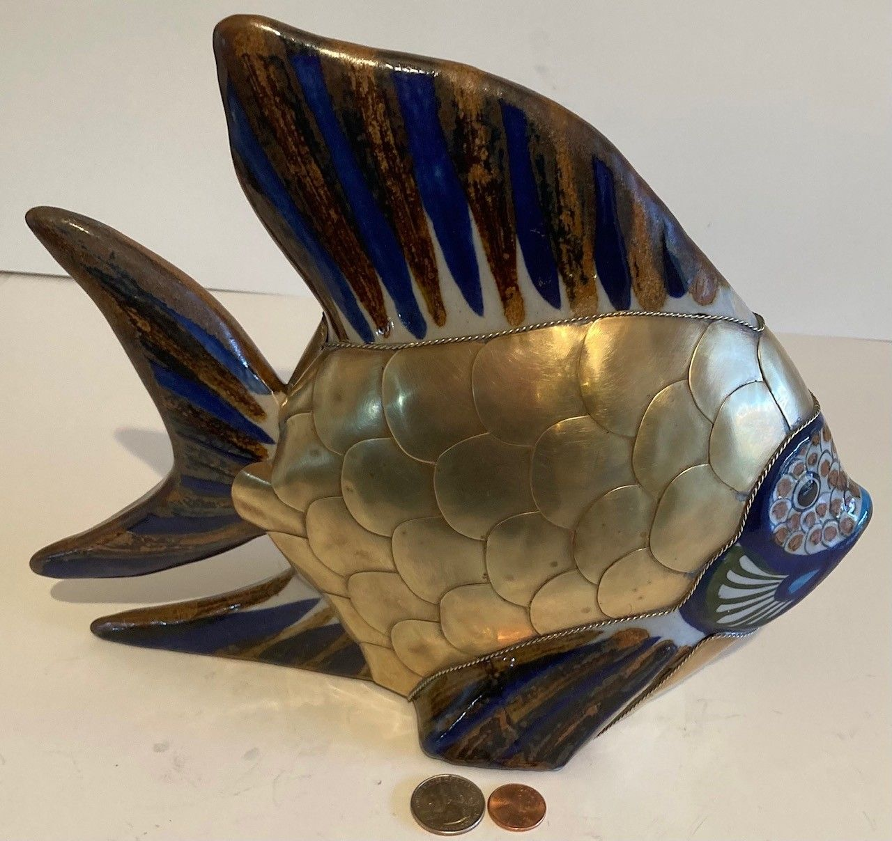 """Vintage Bras and Porcelain Fish, Angel Fish, Large Size, Heavy Duty, 11"""" x 9 1/2"""" Quality, Home Decor, Table Display, Shelf Display, Really Nice"""