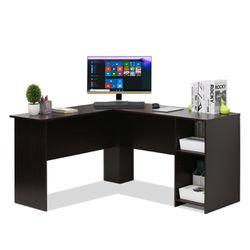 Furinno Indo L-Shaped Desk with Bookshelves, Espresso Thumbnail