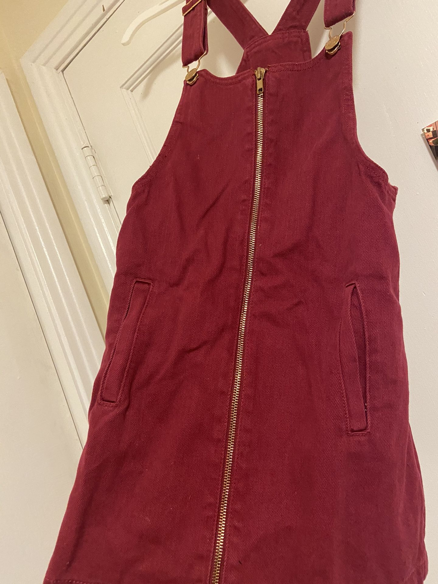 Forever21 Burgundy Zip Up Overall Dress