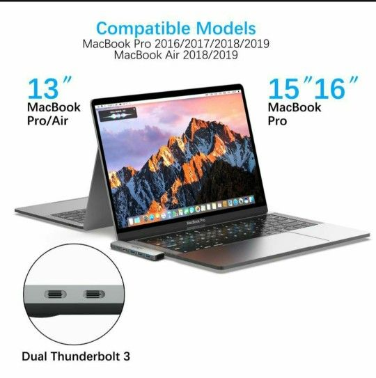 USB C Hub, Supports 4K Dual Monitor Compatible for MacBook Pro 2019/2018/2017/2016, MacBook Air 2018/2019