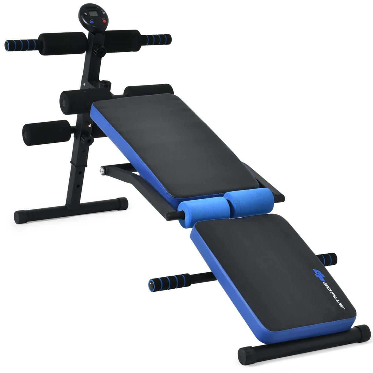 Goplus  Multi-Functional Foldable Weight Bench Adjustable Sit-up Board w/ Monitor Red\Blue