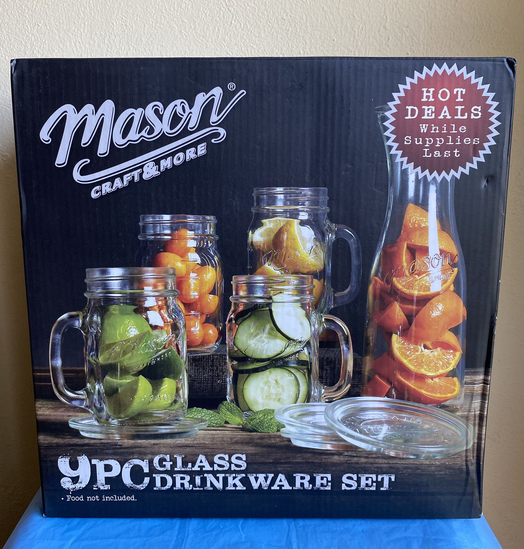 Mason 9pc Glass Drinkware Set*NIB*