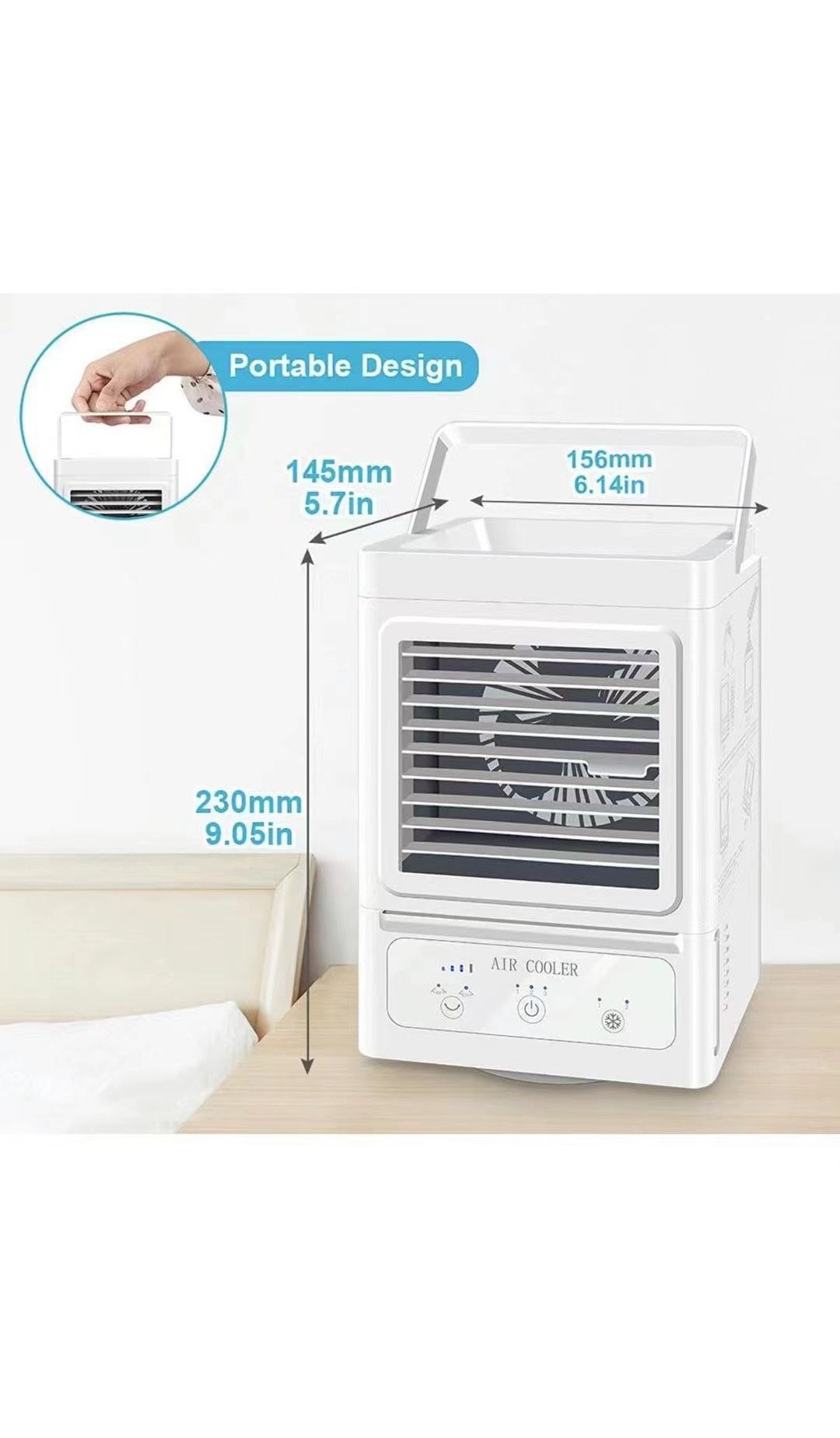 Personal Air Cooler, 5000mAh Rechargeable Battery Operated 60°&120° Auto Oscillation, Portable Air Conditioner Fan with 3 Wind Speeds & 2 Refrigeratio