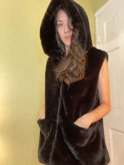 Vera Wang Faux Fur Hooded Vest Thumbnail