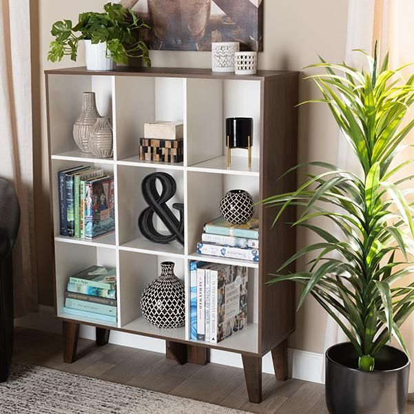 Senja Modern and Contemporary Two-Tone White and Walnut Brown Finished Wood 9-Shelf Bookcase