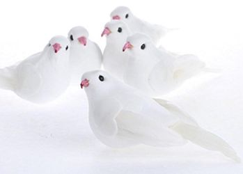 Group of 12 White Sweet Artificial Mushroom Dove Birds Thumbnail