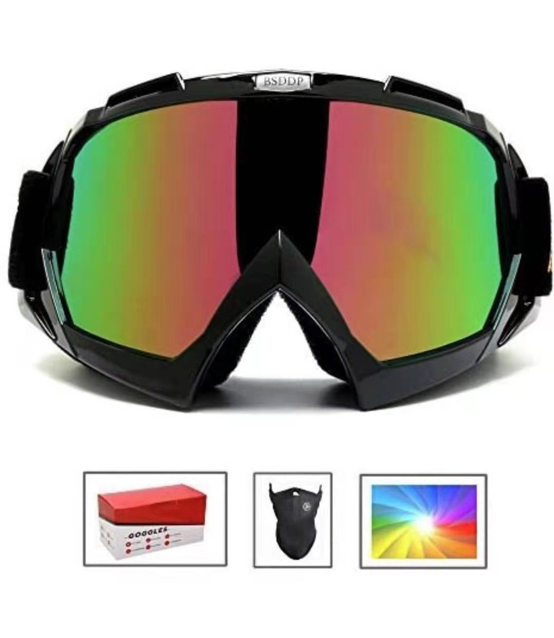 Adult Professional Ski Goggles Snowmobile Snowboard Skate Snow Skiing Goggles with 100% UV400 Protection Bright Lens TPC Frame Material Anti Sand Wind