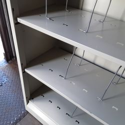 Shelving metal light weight...2 available...size. 34.5 Wide.m...12.5 Deep..81.25 Tall Thumbnail