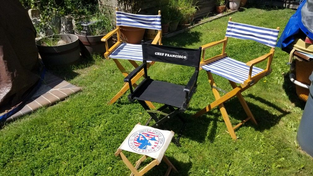 Three Directors Chairs plus Foot stool chair