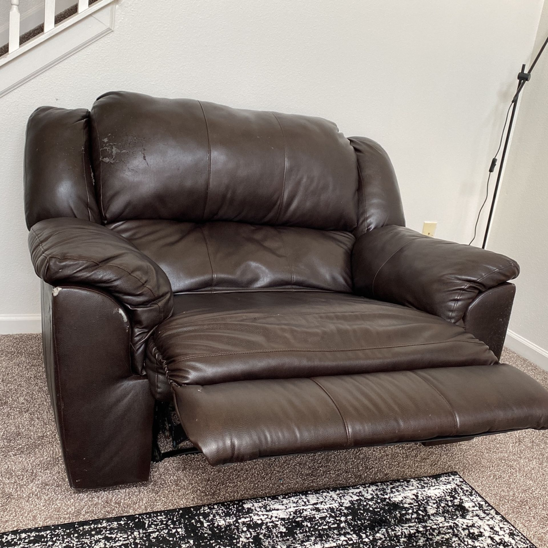 Oversized Faux Leather Recliner