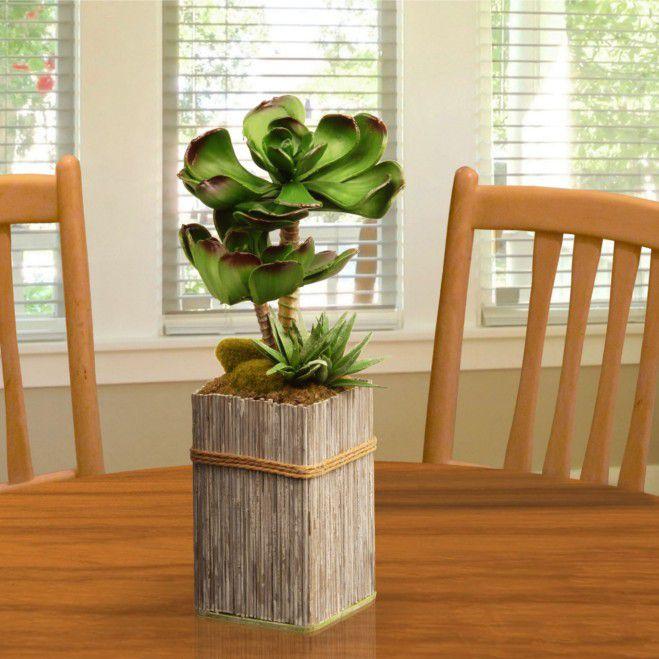 "Artificial 11"" Garden Accents Succulent Plant Bamboo Style Pot"