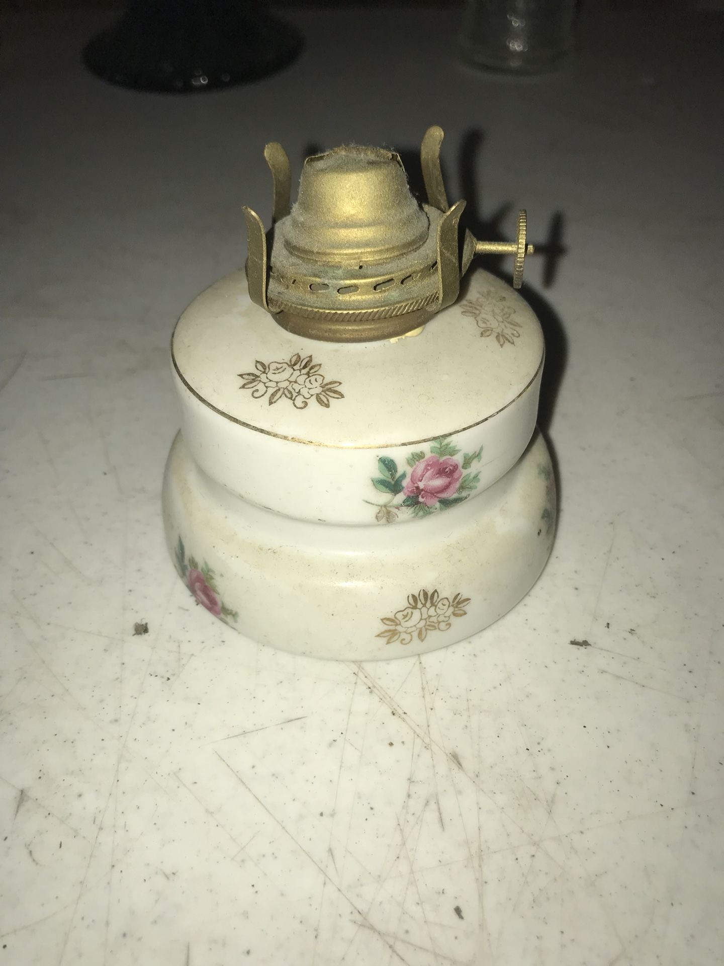 Small vintage hurricane lamp