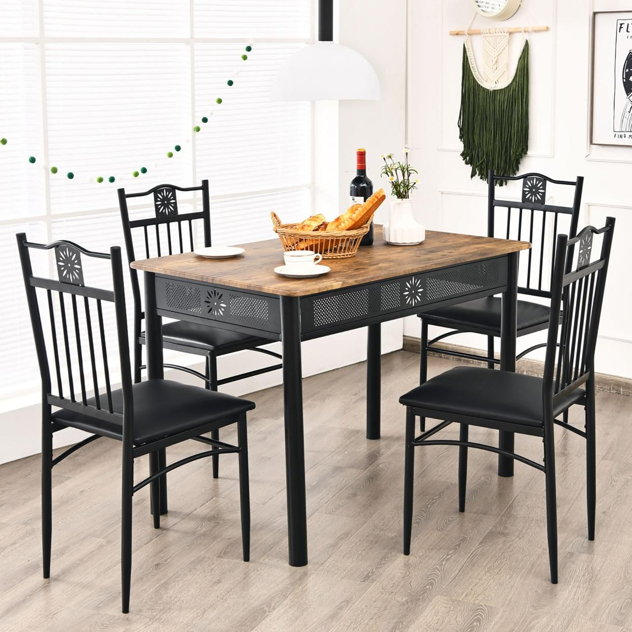 Costway 5PCS Dining Set Metal Table & 4 Chairs Kitchen Breakfast Furniture Black