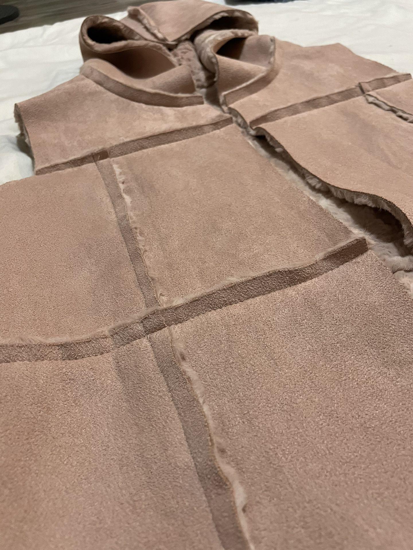 Girls 11/11 Pink Blush Suede Sherpa Fur Vest