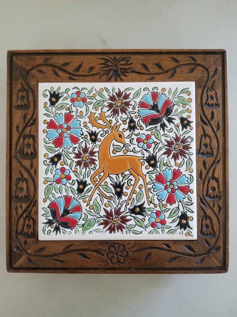 Vintage Tile and Wood Deer Trivet