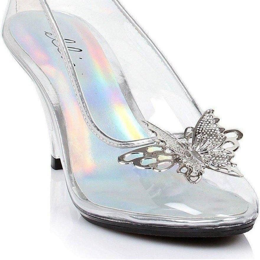 Ellie Shoes E-305-Cinder 3 Heel Clear Women's Pump with Butterfly Size 7