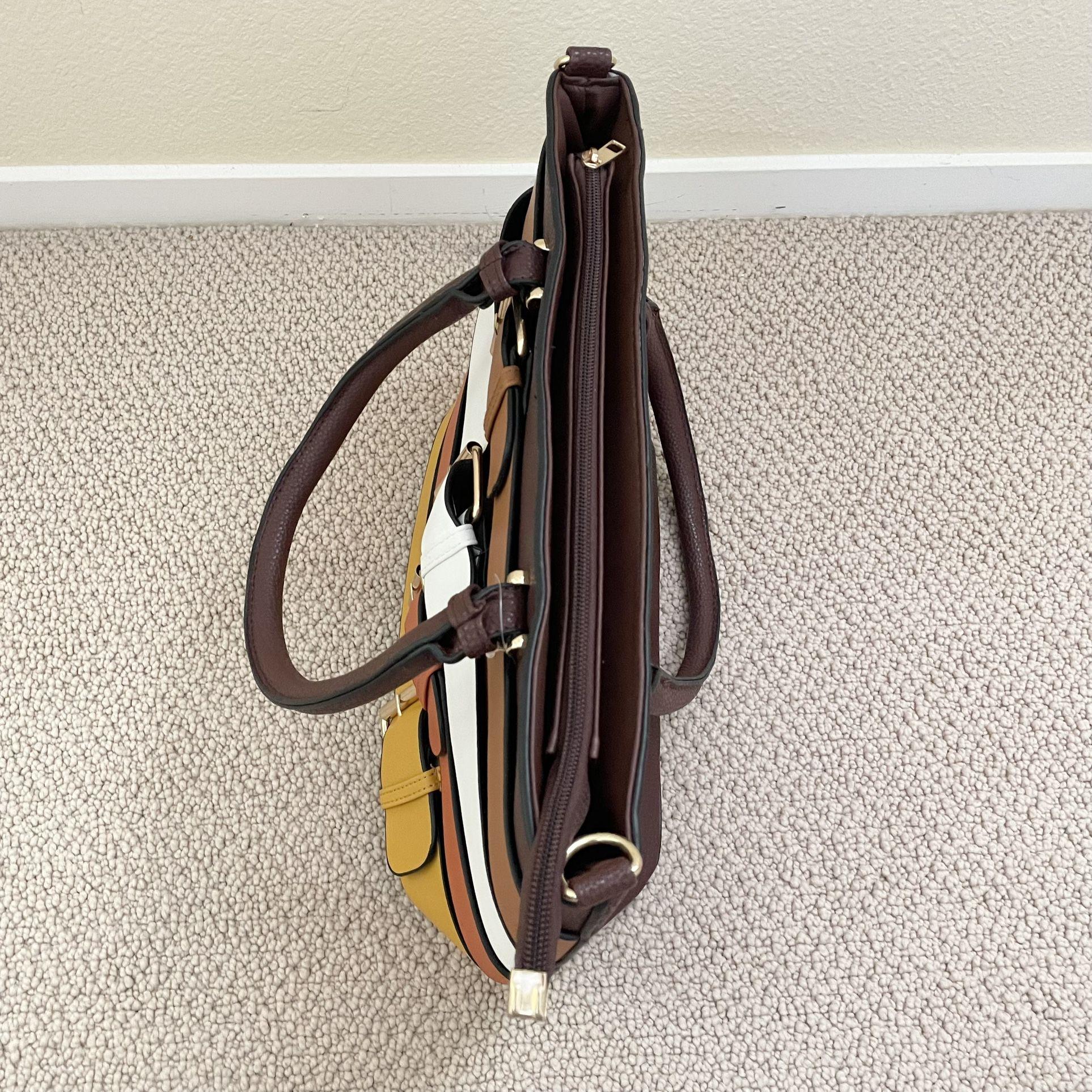 Yellow Brown Belt Design Tote Bag Women's Purse
