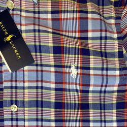 Polo Oxford Shirt Blue Plaid Thumbnail