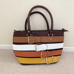 Yellow Brown Belt Design Tote Bag Women's Purse  Thumbnail